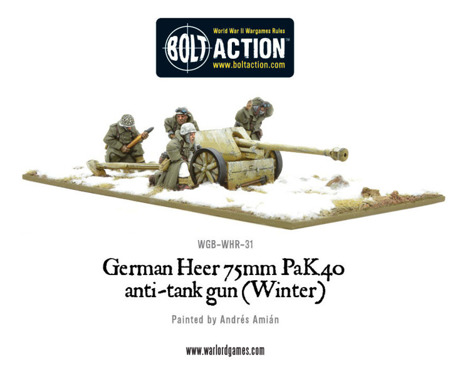 Bolt Action - German Heer 75mm Pak 40 anti-tank gun (Winter)
